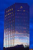 A skyscraper at twilight, Denver, Colorado USA