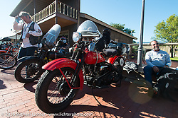 Vinnie Grasser with his 1930 Harley-Davidson VL at the Old Town Museum in Burlington, Colorado for the hosted dinner stop during Stage 8 of the Motorcycle Cannonball Cross-Country Endurance Run, which on this day ran from Junction City, KS to Burlington, CO., USA. Saturday, September 13, 2014.  Photography ©2014 Michael Lichter.
