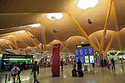 Modern architecture interior of terminal 4 building, Adolfo Suárez Madrid–Barajas airport, Madrid, Spain
