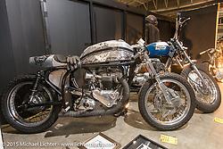 Custom 1962 Triumph cafe racer at the Mooneyes Yokohama Hot Rod & Custom Show. Yokohama, Japan. December 6, 2015.  Photography ©2015 Michael Lichter.