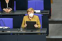 11 FEB 2021, BERLIN/GERMANY:<br /> Angela Merkel, CDU, Bundeskanzlerin, mit Mappe, vor Beginn ihrer Regierungserklaerung zur Bewaeltigung der Corvid-19-Pandemie, Plenum, Reichstagsgebaeude, Deutscher Bundestag<br /> IMAGE: 20210211-01-021<br /> KEYWORDS: Corona, Maske, Mundschutz