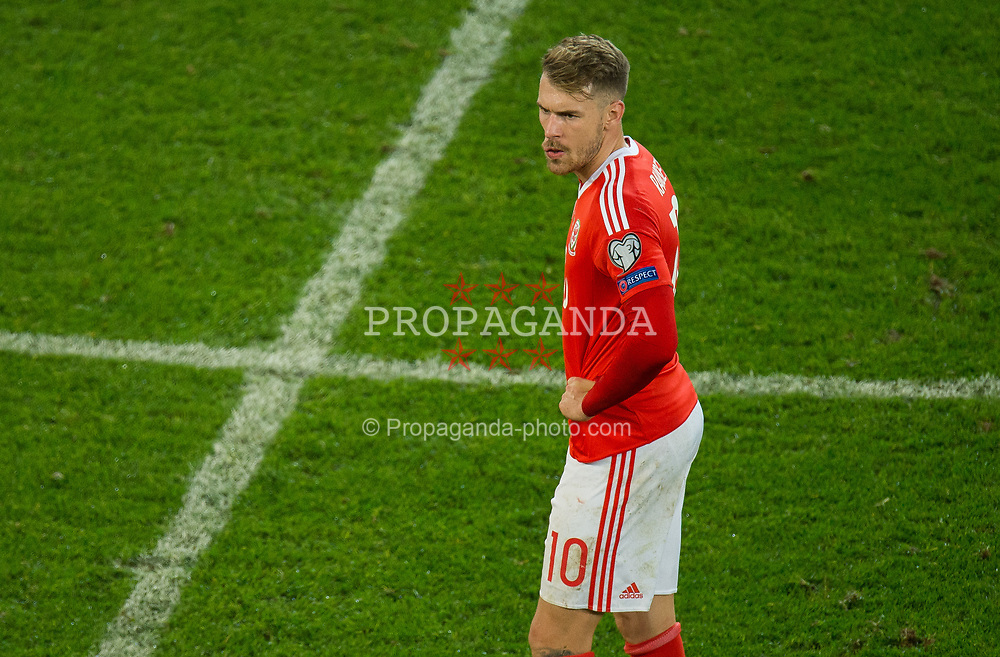 CARDIFF, WALES - Monday, October 9, 2017: Wales' Aaron Ramsey reacts during the 2018 FIFA World Cup Qualifying Group D match between Wales and Republic of Ireland at the Cardiff City Stadium. (Pic by Peter Powell/Propaganda)