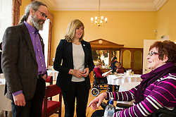 Pictured: Alison Johnstone and Eurig Scandrett met guest Anita Marshall who travels up from Hull on a regular basis<br /> <br /> Scottish Greens Health and social care spokeswoman Alison Johnstone took the opportunity e to meet staff and visitors at Leuchie House respite centre in North Berwick today.<br /> <br /> Ger Harley | EEm 26 April 2016