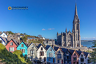 Deck of Card Houses with St Colmans Cathedral in Cobh, Ireland