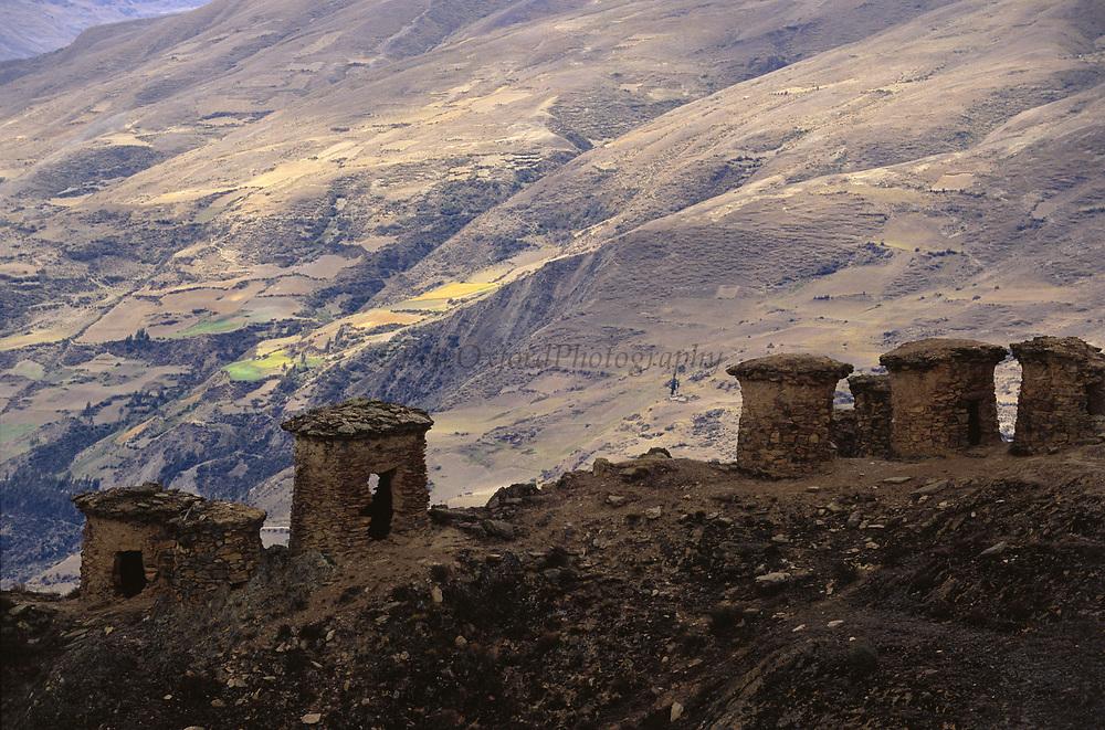 Ancient Inca 'Chullpas' or Burial Towers<br />nw of Paucartambo<br />PERU.  South America