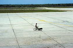 Bicycle Delivery Of Cargo And Mail To Airplane