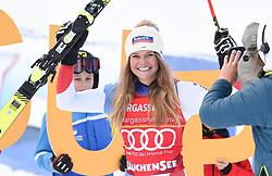 11.01.2020, Keelberloch Rennstrecke, Altenmark, AUT, FIS Weltcup Ski Alpin, Abfahrt, Damen, im Bild Corinne Suter (SUI) // Corinne Suter of Switzerland reacts after her run for the women's Downhill of FIS ski alpine world cup at the Keelberloch Rennstrecke in Altenmark, Austria on 2020/01/11. EXPA Pictures © 2020, PhotoCredit: EXPA/ Erich Spiess