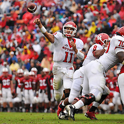 Sep 26, 2009; College Park, MD, USA; Rutgers quarterback Domenic Natale (11) throws a pass during the first half of Rutgers' 34-13 victory over Maryland in NCAA college football at Byrd Stadium.