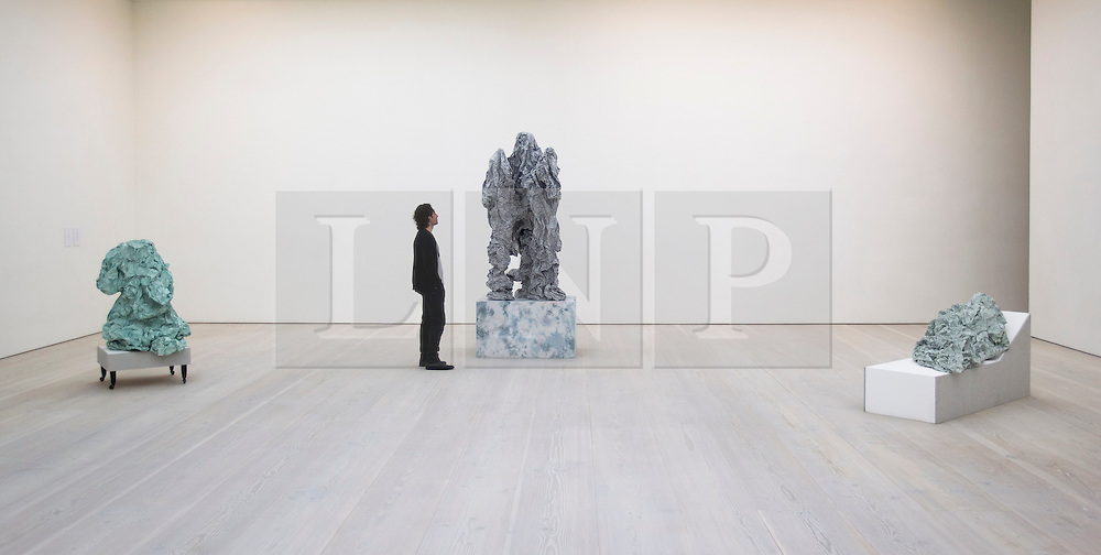 © Licensed to London News Pictures. 17/06/2013. London, UK. A Saatchi Gallery employee views 'Posturing' ) (2012) a paper sculpture by Scottish artist Rachel Adams, seen with 'Ottoman' (left: 2011) and 'Recliner' (2011) at the press view for a new exhibition taking place at the West London based gallery. The exhibition, which runs from the 18th of June to the 29th of September 2013 at the Saatchi Gallery, is entitled 'Paper' and aims to challenge the viewers perceived ideas and expectations of the material in a world where its use is becoming rare thanks to emails and the internet  Photo credit: Matt Cetti-Roberts/LNP