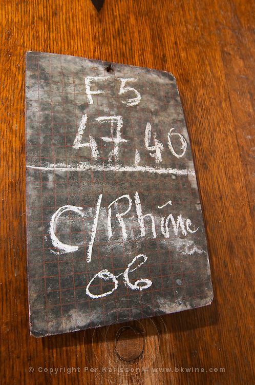 sign on tank cotes du rhone 2006 domaine du grand tinel chateauneuf du pape rhone france
