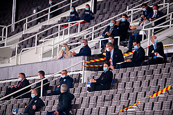 HELSINKI, FINLAND - Thursday, September 3, 2020: VIP's wearing face masks during the UEFA Nations League Group Stage League B Group 4 match between Finland and Wales at the Helsingin Olympiastadion. (Pic by Jussi Eskola/Propaganda)