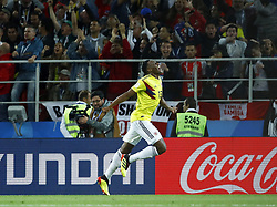 July 3, 2018 - Moscow, Russia - Round of 16 England v Colombia - FIFA World Cup Russia 2018..Yerry Mina (Colombia) celebrates after the goal scored of 1-1 at Spartak Stadium in Moscow, Russia on July 3, 2018. (Credit Image: © Matteo Ciambelli/NurPhoto via ZUMA Press)
