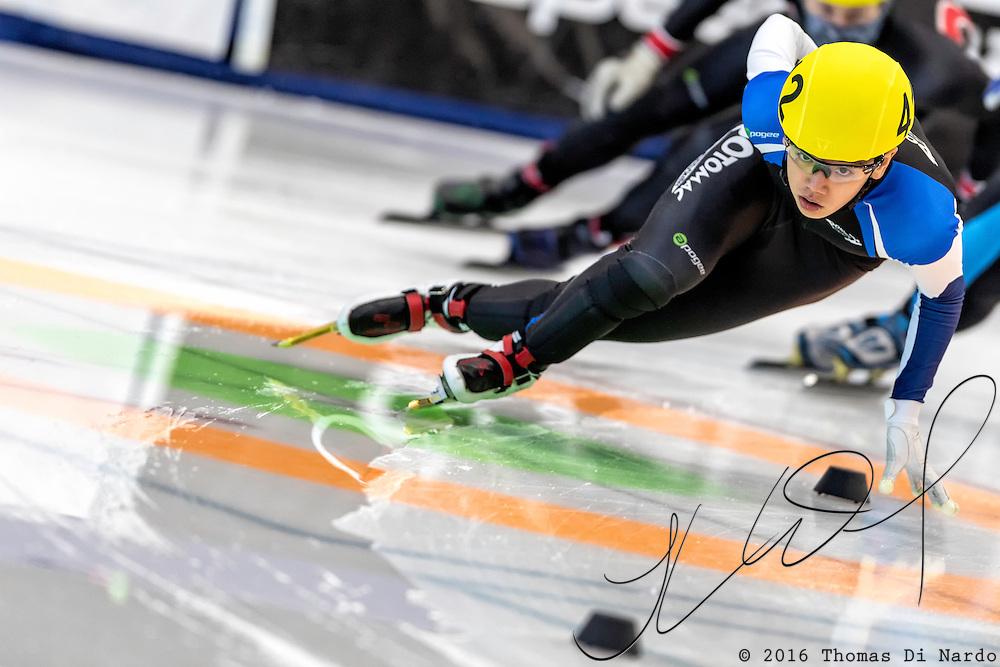 December 17, 2016 - Kearns, UT - Brandon Kim skates during US Speedskating Short Track Junior Nationals and Winter Challenge Short Track Speed Skating competition at the Utah Olympic Oval.