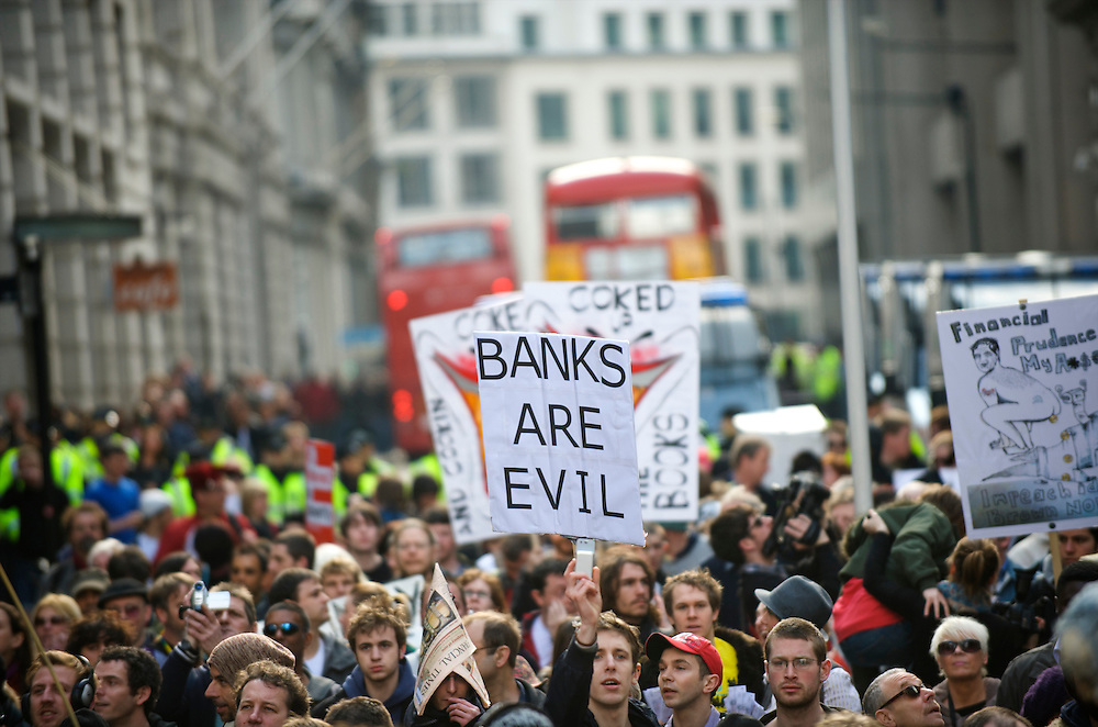 Thousands of protesters marched the streets from London Bridge to the Bank of England on the first day of the G20 Summit, April 1, 2009.  Many were decked out in garb themed by the four horses of the apocalypse.  Police lined the streets in anticipation of violence.