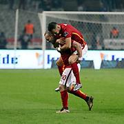 Galatasaray's Sneijder (L) during their Turkish Super League soccer derby match Besiktas between Galatasaray at the Ataturk Olimpiyat stadium in Istanbul Turkey on Monday, 14 December 2015. Photo by Aykut AKICI/TURKPIX