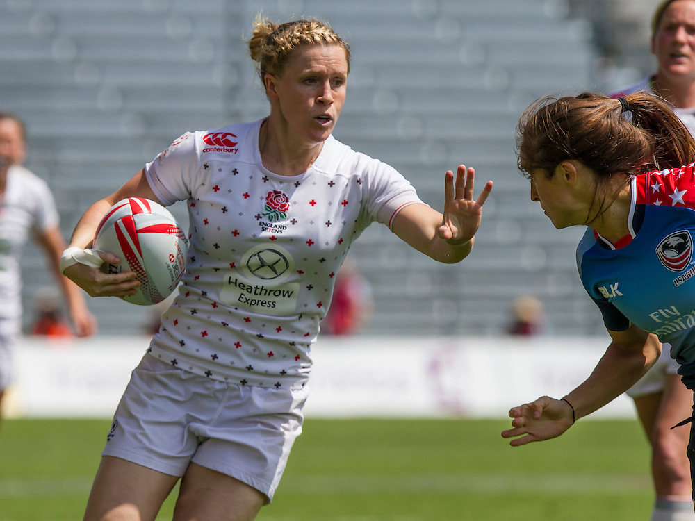 Danielle Waterman in action against USA World Rugby Women's HSBC Sevens Series, Clermont Ferrand, Day 1, at Stade Gabriel Montpied, Clermont Ferrand, France, on 28th May 2016