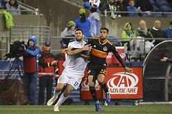 October 8, 2018 - Seattle, Washington, U.S - Seattle's WILL BRUIN (17) and Houston's LEONARDO (22) fight for position as the Houston Dynamo visits the Seattle Sounders in a MLS match at Century Link Field in Seattle, WA. (Credit Image: © Jeff Halstead/ZUMA Wire)