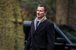 © Licensed to London News Pictures. 20/02/2018. London, UK. Secretary of State for Health and Social Care Jeremy Hunt arrives on Downing Street for the weekly Cabinet meeting. Photo credit: Rob Pinney/LNP