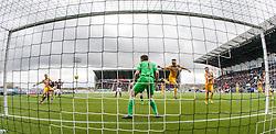 Falkirk's Paul Watson scoring their goal. <br /> Falkirk 1 v 0 Morton, Scottish Championship game  played 1/5/2016 at The Falkirk Stadium.