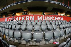 THEMENBILD - die Allianz Arena in Muenchen, im Bild die ALLIANZ ARENA am Abend, Innenansicht mit Sitzplaetzen und dem Logo des FC Bayern Muenchen, Bild aufgenommen am 16.04.2013, Allianz Arena, Muenchen, Deutschland. EXPA Pictures © 2013, PhotoCredit: EXPA/ Eibner/ Bert Harzer..***** ATTENTION - OUT OF GER *****
