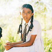 Portrait of schoolgirl in Uniform, Sri Lanka, Asia