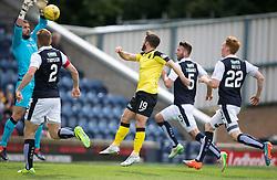 Raith Rovers keeper Kevin Cuthbert saves from Livingston Liam Buchanan. . <br /> Raith Rovers 3 v 0 Livingston, SPFL Ladbrokes Premiership game played 8/8/2015 at Stark's Park.