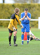 Caversham's keeper Callum Flaws looks as Bluewater Napier City's Stu Wilson rues a missed shot at goal. 2011 Chatham Cup Semi Final, Napier City Rovers v Caversham, Bluewater Stadium, Napier, New Zealand. Sunday 14 August 2011. Photo: Kerry Marshall / photosport.co.nz