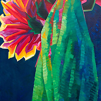A glowing cascade of blossoms crowns this cactus, and it is a riot of colors!<br /> 20 x 40, oil on canvas.<br /> For more information, please call 480-483-5663