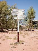 Directions signin William Creek, a small town along the Oodnadatta Track, South Australia, Australia