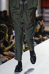 February 17, 2019 - London, GB - Vivienne Westwood. Model On CloseUp Catwalk, Woman Women, London Fashion Week 2019 Ready To Wear For Fall Winter, Defile, Fashion Show Runway Collection, Pret A Porter, PAP, Modelwear, Modeschau Laufsteg Autumn Herbst England, Great Britain, .Model, CloseUp, Details, Accessories, Fashion Show, Runway, Catwalk, Style, Look, (Credit Image: © FashionPPS via ZUMA Wire)