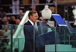 United States President George H.W. Bush delivers his Inaugural Address after being sworn-in as 41st President of the United States at the US Capitol on January 20, 1989. Photo by Todd S. Sachs / CNP /ABACAPRESS.COM