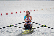 Poznan, POLAND, 21.06.19,  Friday,  USA. FRA LW1X.,  Marion COLARD, at the start of her heat, FISA World Rowing Cup II, Malta Lake Course, © Peter SPURRIER/Intersport Images, <br /> <br /> 09:38:01
