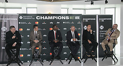 April 19, 2018 - Los Angeles, California, U.S - The 2018 International Champions Cup organizers announced the teams and schedule for the summer soccer tournament featuring top European clubs during a press conference on Thursday April 19, 2018 at OUE Skyspace LA in Los Angeles, California. (L-R) A.C. Milan legend; Daniele Massaro, Barcelona legend; Luis Garcia, Manchester United legend; Andrew Cole, Tottenham Hotspur legend; Osvaldo Ardiles,NBA legend; Steve Nash and Charlie Stillitano executive chairman of RELEVENT. (Credit Image: © Prensa Internacional via ZUMA Wire)