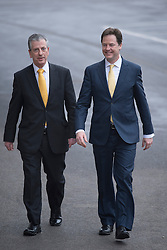 © London News Pictures. 01/03/2013 . West End, UK.  Leader of the Liberal Democrats part NICK CLEGG (right) and MIKE THORNTON MP (left) arriving for a media conference at the Ageas Bowl cricket ground in West End, Hampshire, after MIKE THORNTON won the Eastleigh By-Election in the early hours of this morning. The seat became vacant when Chris Huhne resigned from the position following his guilty plea to a charge of perverting the course of justice. Photo credit : Ben Cawthra/LNP