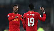 Sadio Mané of Liverpool celebrates with Daniel Sturridge of Liverpool during the English Premier League match at Goodison Park, Liverpool. Picture date: December 19th, 2016. Photo credit should read: Lynne Cameron/Sportimage