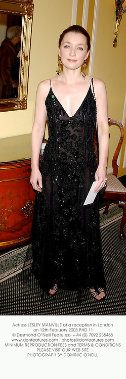 Actress LESLEY MANVILLE at a reception in London on 12th February 2003.PHD 11
