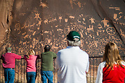 MONTICELLO, UT - Tourists view Newspaper Rock, a popular petroglyph site in Bears Ears National Monument, Utah, U.S. October 29, 2017.  REUTERS/Andrew Cullen