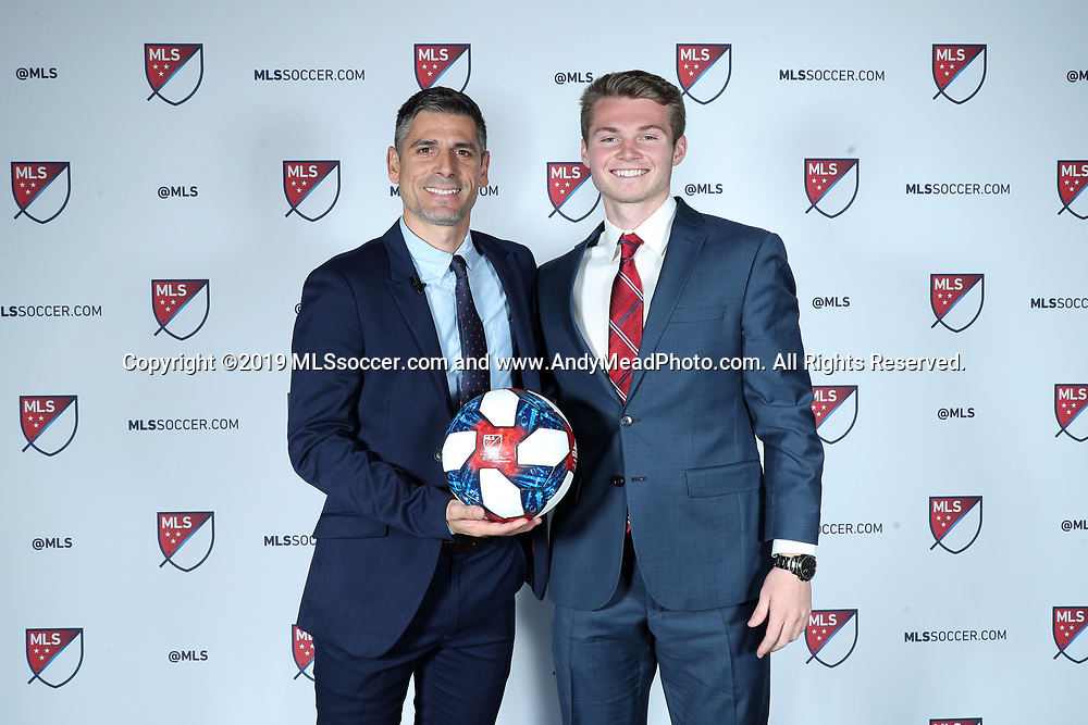 CHICAGO, IL - JANUARY 11: John Nelson was taken with the tenth overall pick by FC Dallas. With head coach Luchi Gonzalez (left). The MLS SuperDraft 2019 presented by adidas was held on January 11, 2019 at McCormick Place in Chicago, IL.