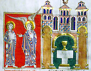 Leaf from a Beatus manuscript. 'The Angel of the Church of Philadelphia with Saint John'. Tempera, Gold and ink on parchment. Taken from the Benedictine monastery of San Pedro Cardena, Burgos in Spain. Circa 1180.