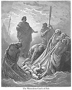 The Miraculous catch of Fish [John 21:10-11] From the book 'Bible Gallery' Illustrated by Gustave Dore with Memoir of Dore and Descriptive Letter-press by Talbot W. Chambers D.D. Published by Cassell & Company Limited in London and simultaneously by Mame in Tours, France in 1866