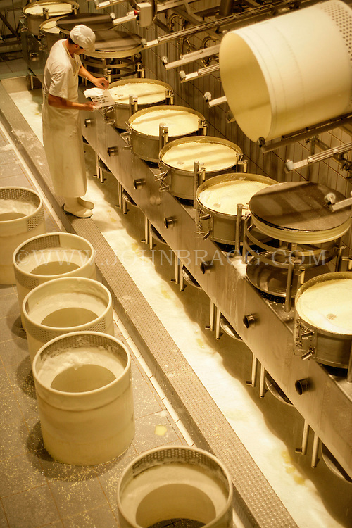 A mouthwatering view taken inside the La Gruyere Cheese Factory located in Pingy/Gruyeres, Switzerland.