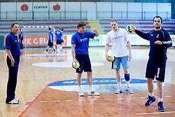 Miro Pozun, Luka Zvizej, Miha Zvizej, Uros Zorman at practice of Slovenian Handball Men National Team, on June 4, 2009, in Arena Kodeljevo, Ljubljana, Slovenia. (Photo by Vid Ponikvar / Sportida)