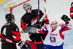 Rok Ticar of Slovenia celebrates during ice-hockey match between Slovenia and Japan at IIHF World Championship DIV. I Group A Slovenia 2012, on April 16, 2012 in Arena Stozice, Ljubljana, Slovenia. (Photo by Vid Ponikvar / Sportida.com)