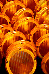 Stock photo of a close-up of yellow traffic safety lights
