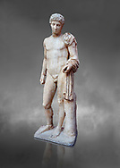 Roman marble statue of Hermes found at Aigion, Pelopenese. 27 BC- 14AD. Athens Archaeological Museum Cat No 241. Against grey<br /> <br /> Hermes is depicted standing wearing a chalamys that is wound around his lest arm. In his right hand he holds a purse and in his left a 'caduceus'. Augustan Roman period .<br /> <br /> If you prefer to buy from our ALAMY STOCK LIBRARY page at https://www.alamy.com/portfolio/paul-williams-funkystock/greco-roman-sculptures.html . Type -    Athens    - into LOWER SEARCH WITHIN GALLERY box - Refine search by adding a subject, place, background colour, etc.<br /> <br /> Visit our ROMAN WORLD PHOTO COLLECTIONS for more photos to download or buy as wall art prints https://funkystock.photoshelter.com/gallery-collection/The-Romans-Art-Artefacts-Antiquities-Historic-Sites-Pictures-Images/C0000r2uLJJo9_s0