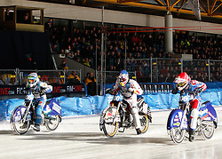 13.03.2016, Assen, BEL, FIM Eisspeedway Gladiators, Assen, im Bild Dmitry Koltakov (RUS), Egor Myshkovets (RUS), Franz Zorn (AUT) //  during the Astana Expo FIM Ice Speedway Gladiators World Championship in Assen, Belgium on 2016/03/13. EXPA Pictures © 2016, PhotoCredit: EXPA/ Eibner-Pressefoto/ Stiefel<br /> <br /> *****ATTENTION - OUT of GER*****