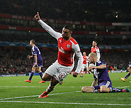 Arsenal's Alex Oxlade-Chamberlain celebrates scoring his sides third goal<br /> <br /> - Champions League Group D - Arsenal vs Anderlecht- Emirates Stadium - London - England - 4th November 2014  - Picture David Klein/Sportimage