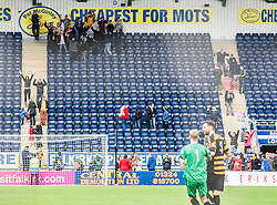 Alloa fans hear they are still in the league.<br /> Falkirk 3 v 1 Alloa Athletic, Scottish Championship game played today at The Falkirk Stadium.<br /> © Michael Schofield.