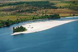Aerial view of island in river, Carrao river, Canaima National Park, Venezuela