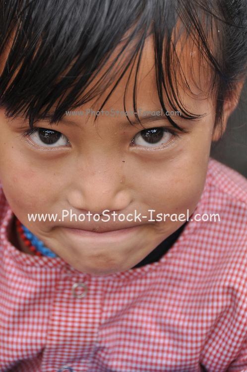 Portrait of a Tibetan girl, India, Himachal Pradesh, Manali, Vashisht